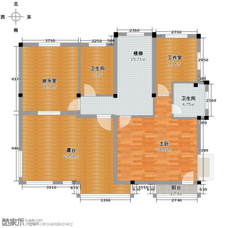 海景华苑122.57㎡B-3F户型1室2卫