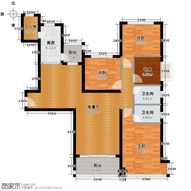恒大名都166.00㎡1/2号楼1单元四室户型4室1厅2卫1厨