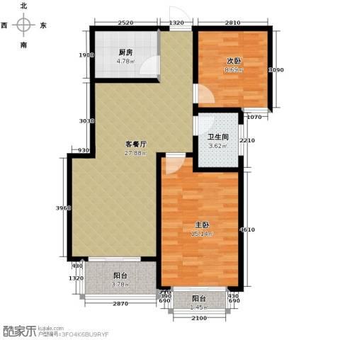 天洲沁园2室2厅1卫0厨97.00㎡户型图