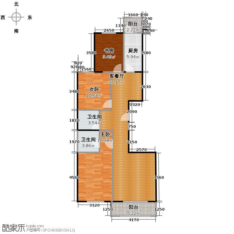 �和嘉园134.72㎡户型3室1厅2卫1厨