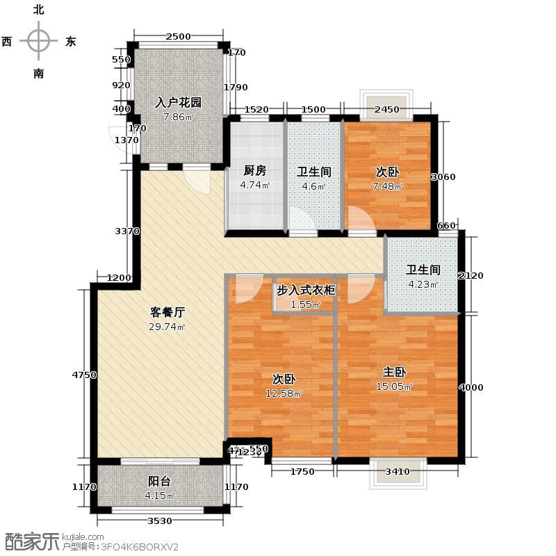 阆苑小区138.00㎡3号楼户型3室1厅2卫