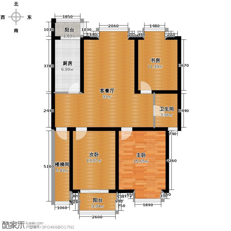 上城风景108.00㎡户型3室1厅1卫1厨