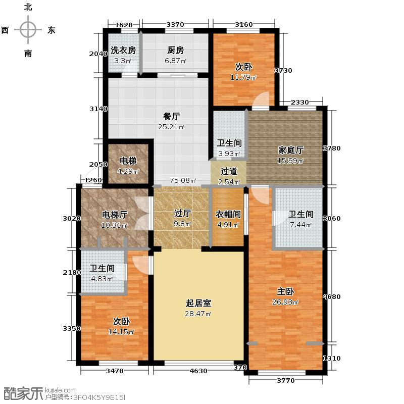 中海紫御华府200.00㎡一期标准层A户型3室3厅3卫