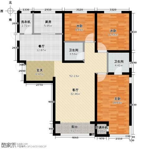 中海紫御华府3室2厅2卫0厨150.00㎡户型图