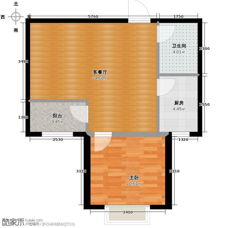 国仕山67.47㎡户型1室2厅1卫