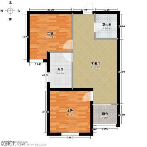 汇君城2室2厅1卫0厨80.00㎡户型图