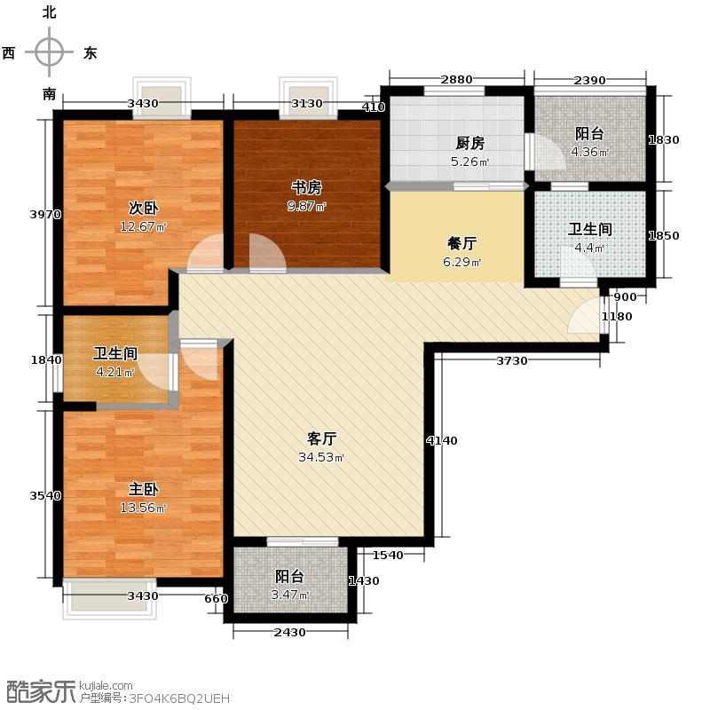 龙湖香醍国际社区120.00㎡小洋房C2户型2室2厅1卫