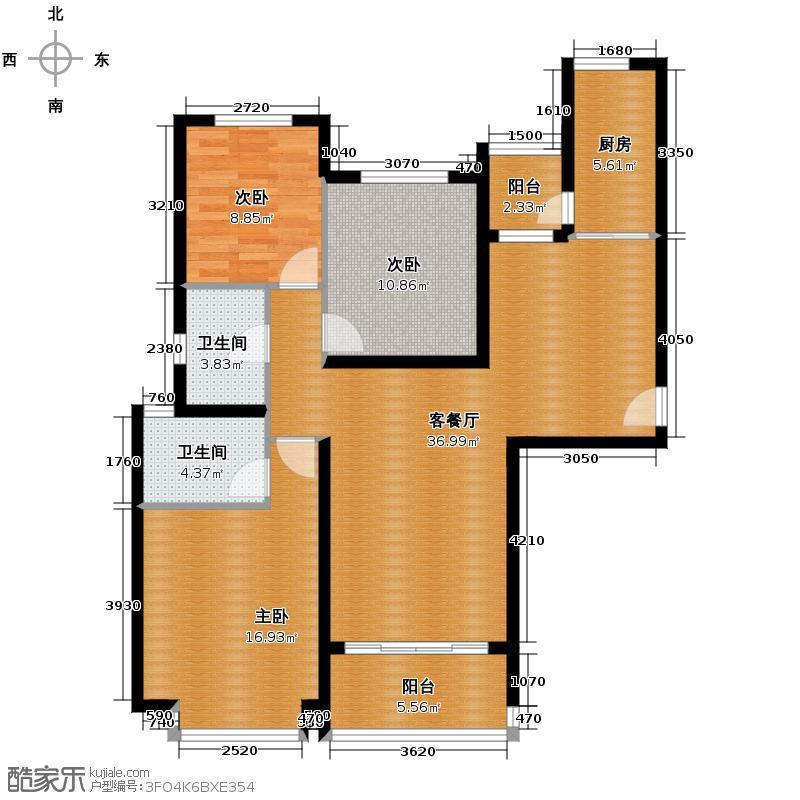 恒大名都143.00㎡1/2号楼1单元三室户型3室1厅2卫1厨