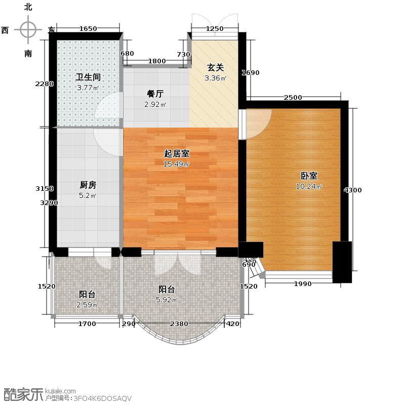 润园翡翠城57.92㎡F2号楼一居户型10室