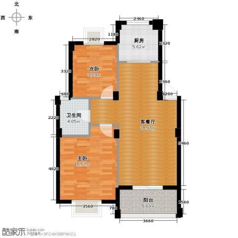 阳光水岸2室1厅1卫1厨89.00㎡户型图