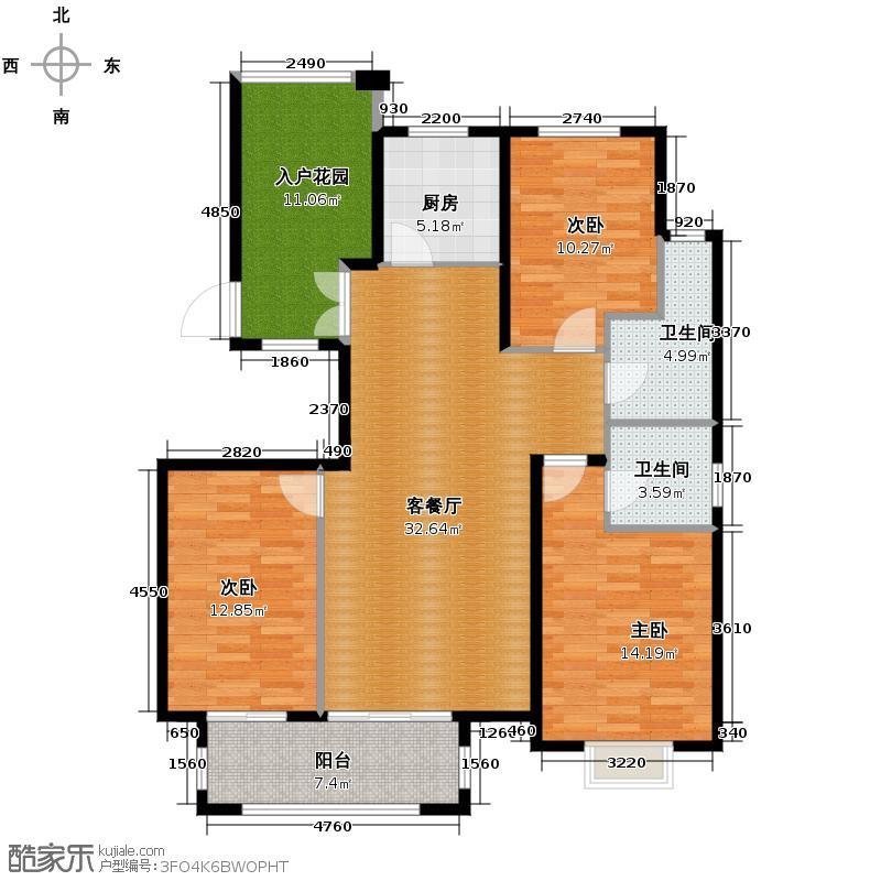 国仕山139.00㎡f户型3室2厅2卫