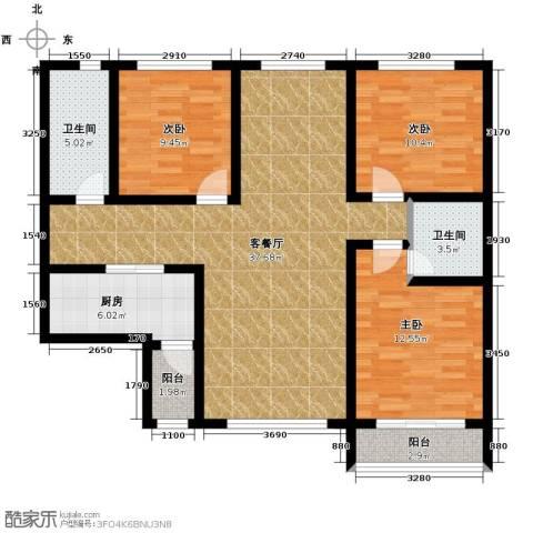 星湖国际花园3室1厅2卫1厨130.00㎡户型图