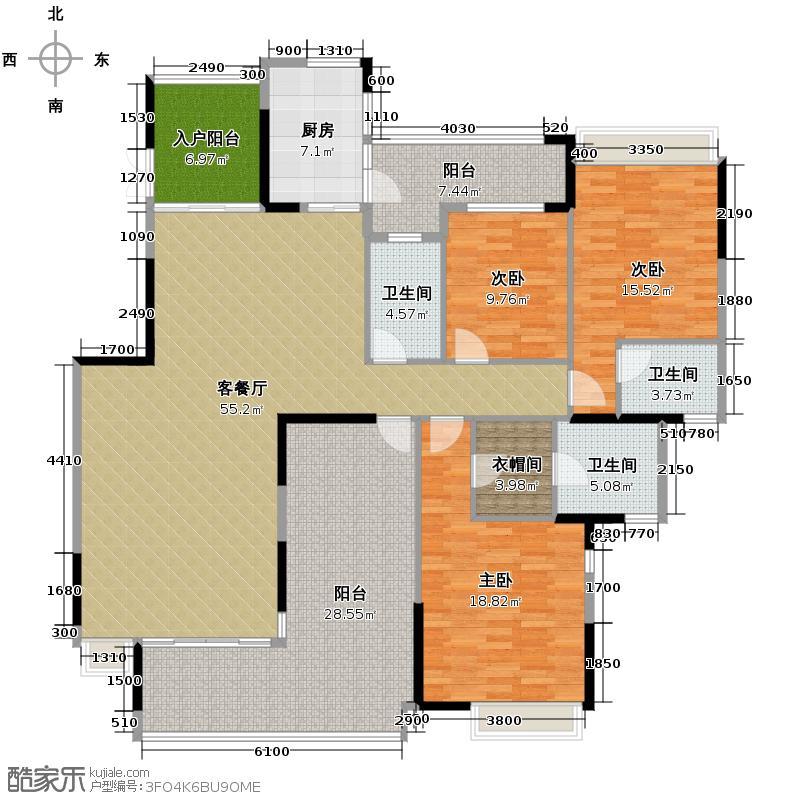 海琴水岸158.00㎡漾日湾18栋02单位户型3室2厅3卫
