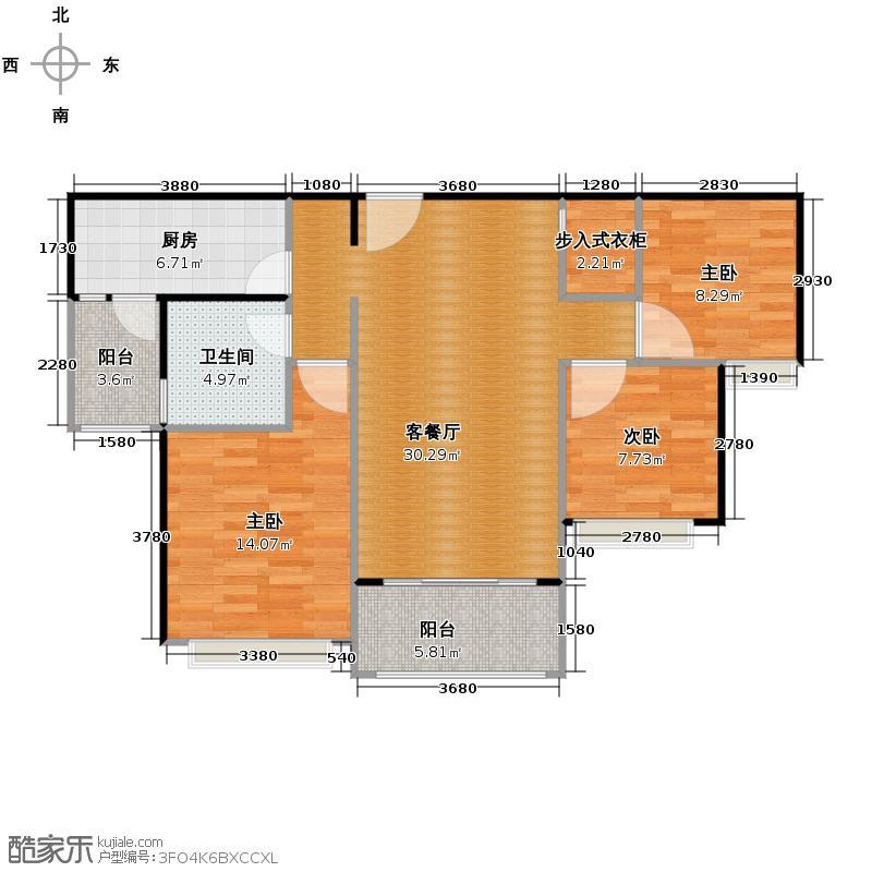 恒大名都110.00㎡4号楼2单元三室户型3室1厅1卫1厨