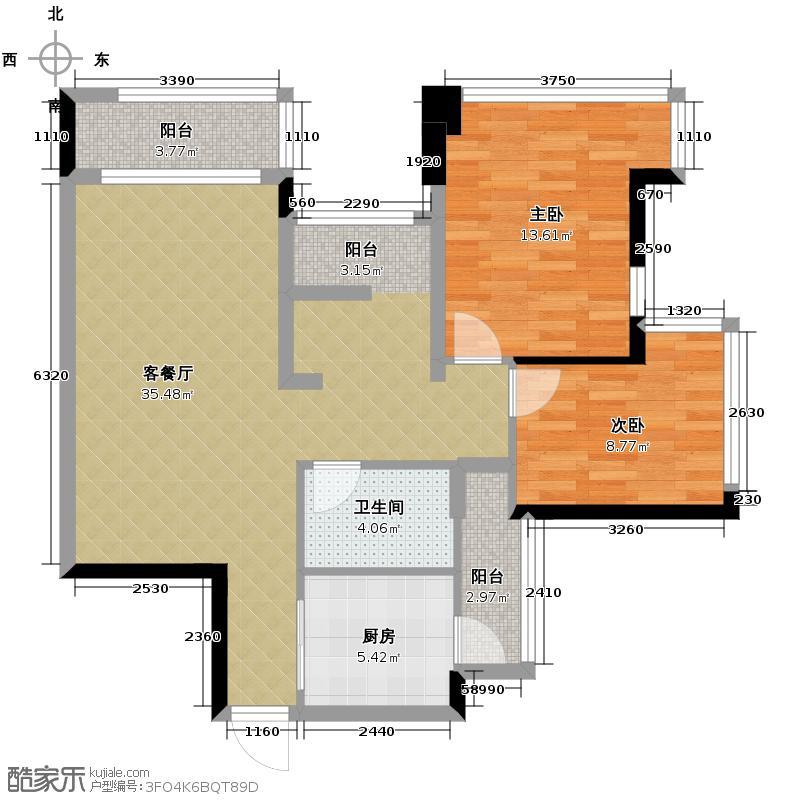 雅居乐曼克顿山90.00㎡1/4/5座01/06单元户型3室2厅1卫