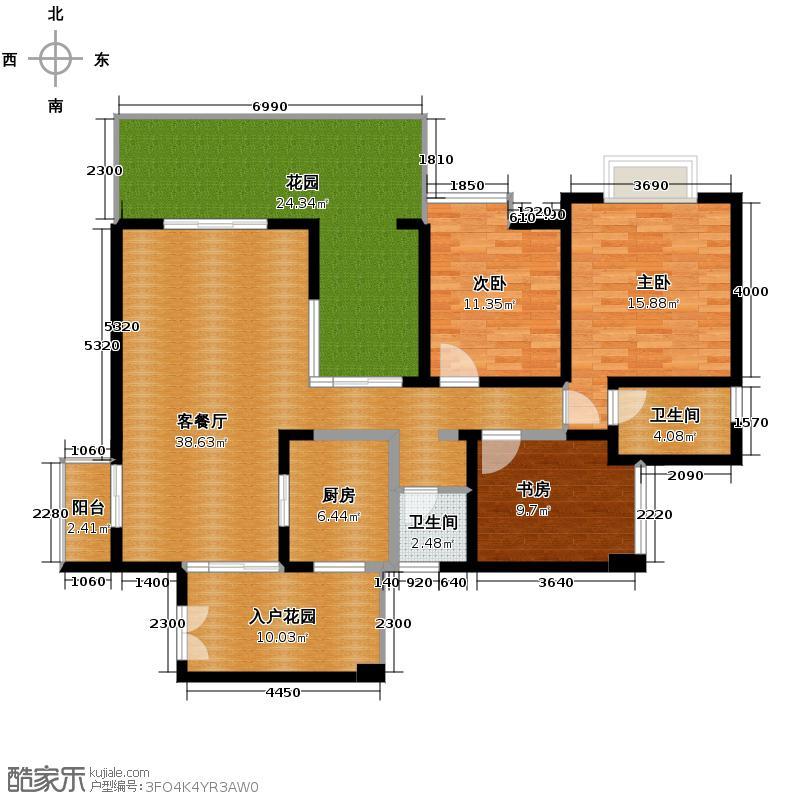 蓝谷地二期138.68㎡34号楼奇数层3d户型3室1厅2卫1厨