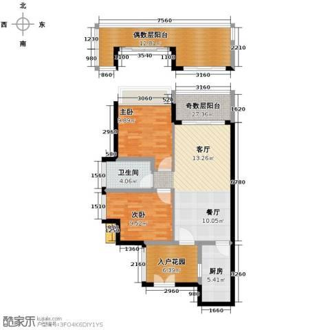京海成・鹿港溪山2室2厅1卫0厨77.00㎡户型图