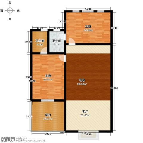 汇锦庄园3室2厅2卫0厨125.40㎡户型图
