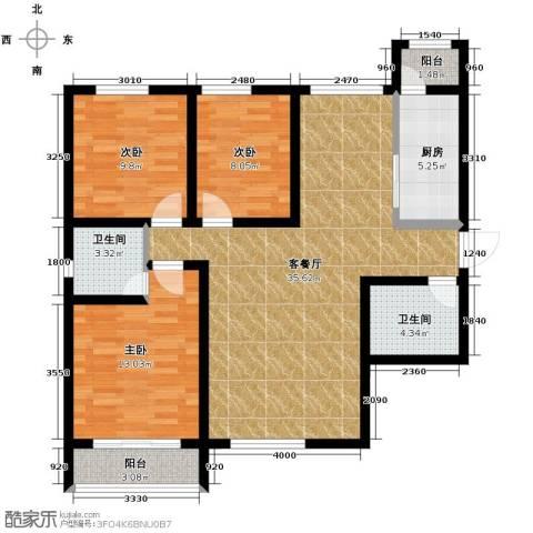 星湖国际花园3室1厅2卫1厨122.00㎡户型图