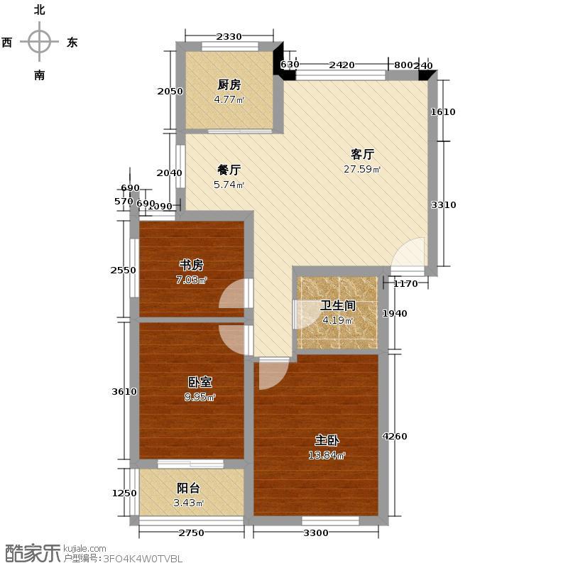 中尚橄榄树花园91.04㎡户型2室1厅1卫1厨