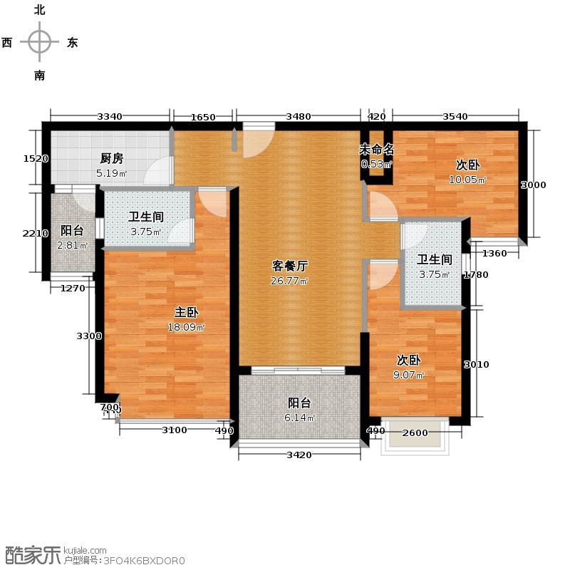恒大名都127.00㎡1/2号楼1单元三室户型3室1厅2卫1厨
