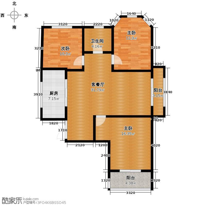 紫晶悦城123.71㎡A1户型3室2厅1卫
