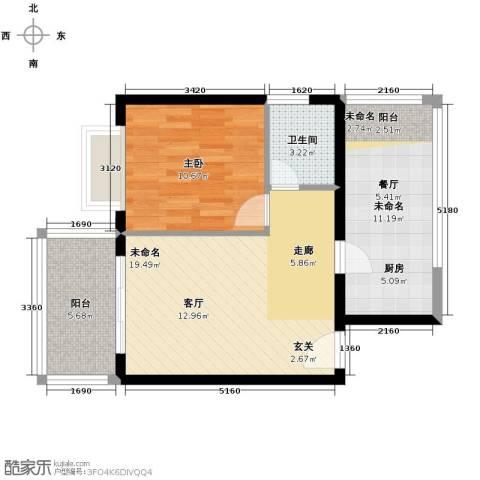 海泽雅居1室0厅1卫0厨58.00㎡户型图