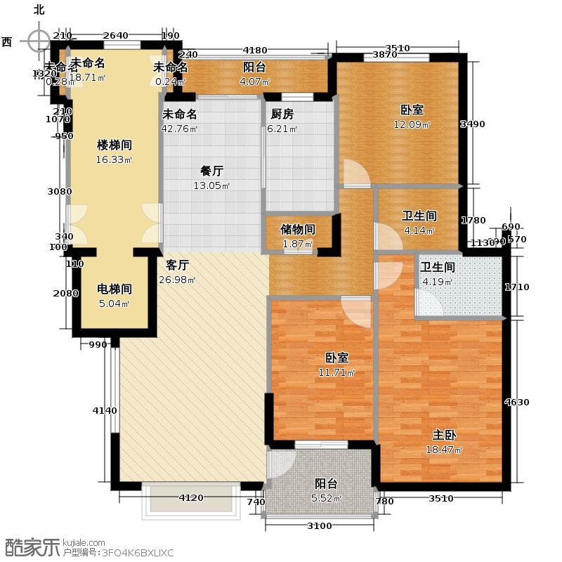 鸿雁名居123.03㎡3号楼2-10标准户型1室2卫1厨