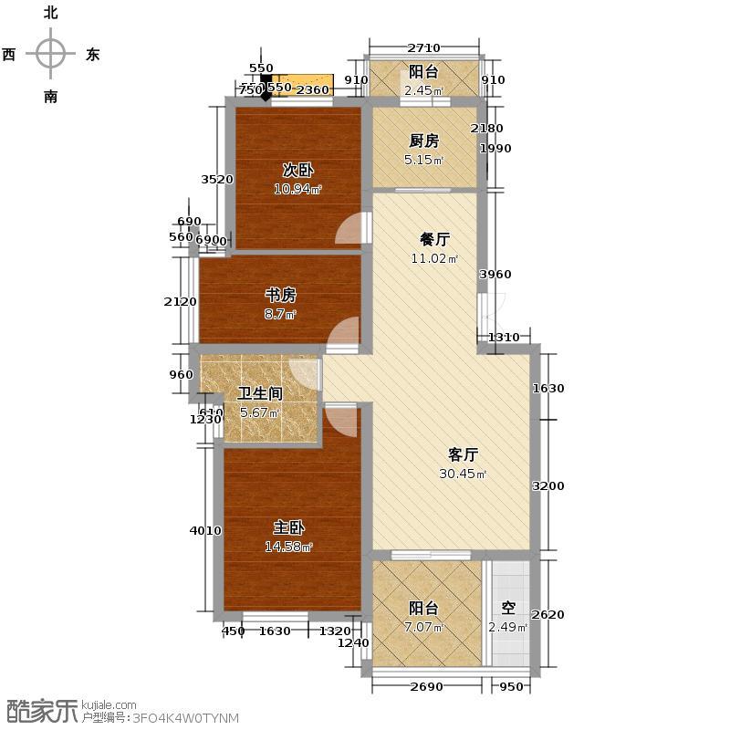 中尚橄榄树花园99.36㎡户型3室1厅1卫1厨