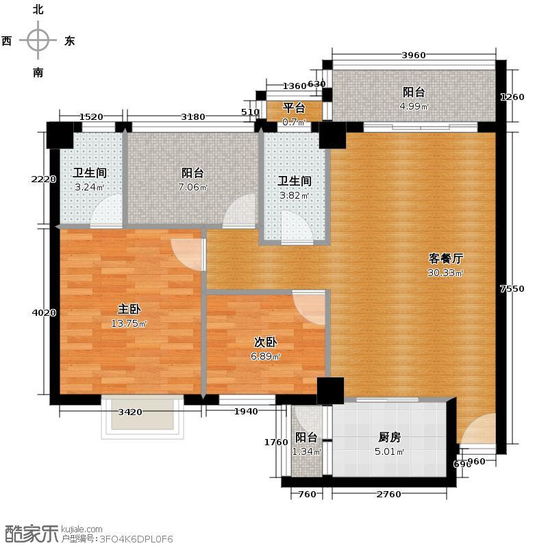 狮山阳光嘉园90.75㎡城宇名轩5座2-10层04户型2室2厅2卫