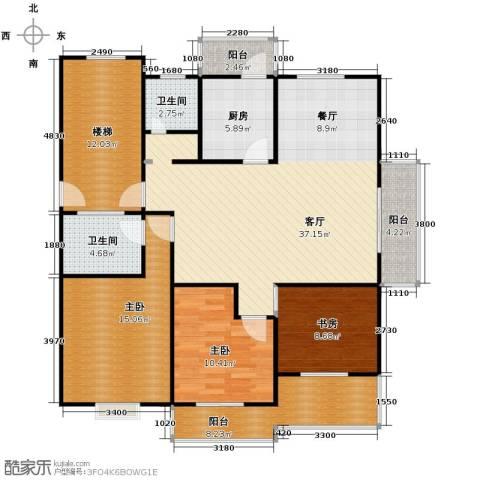 大丰水岸鑫城3室1厅2卫1厨122.00㎡户型图