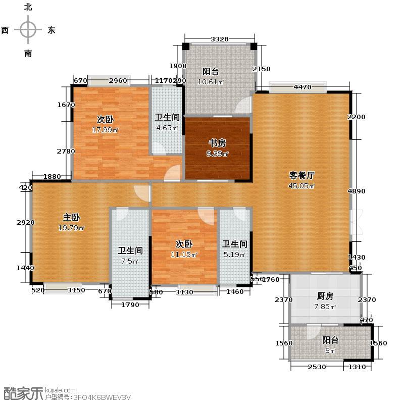 海悦新城142.38㎡户型4室1厅3卫1厨
