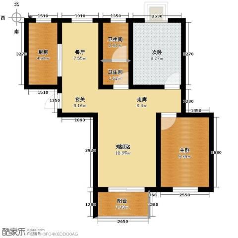 弘达明尚2室2厅1卫0厨102.00㎡户型图