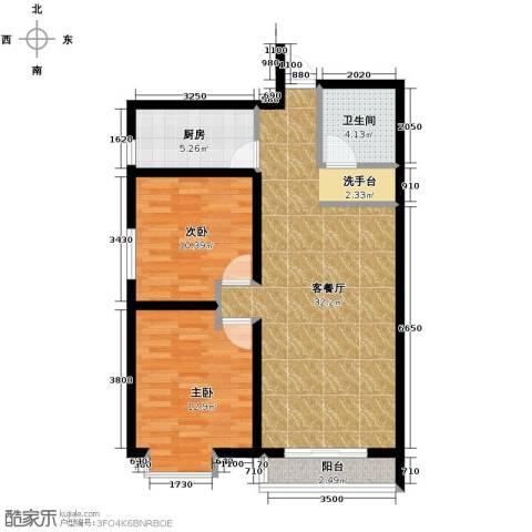 星湖国际花园2室1厅1卫1厨95.00㎡户型图