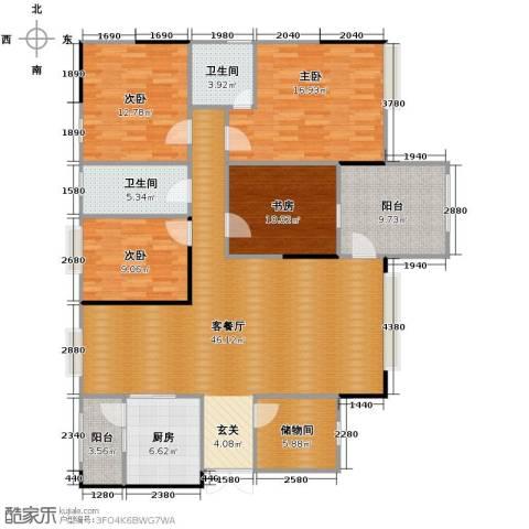 海悦新城4室1厅2卫1厨129.97㎡户型图