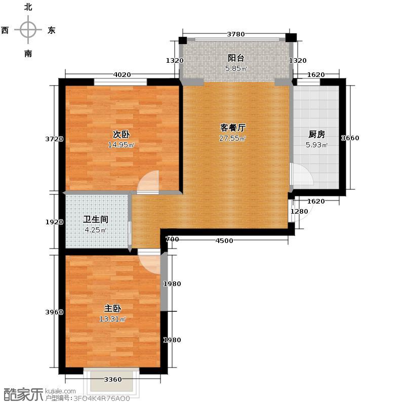 凤凰城99.50㎡E户型2室1厅1卫1厨