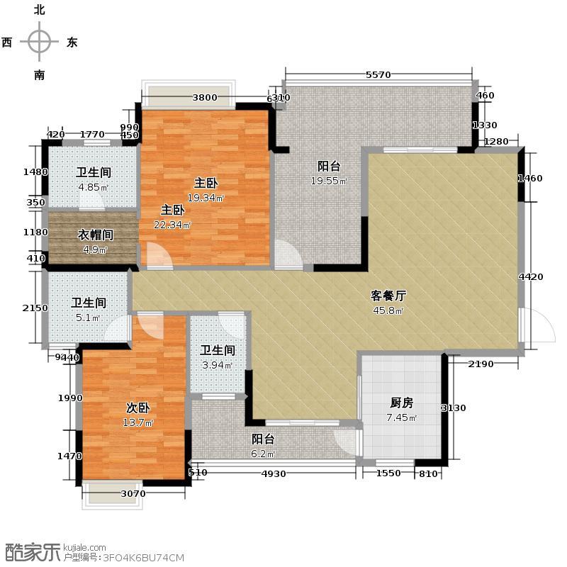 海琴水岸127.00㎡漾日湾16栋02单位户型2室2厅3卫