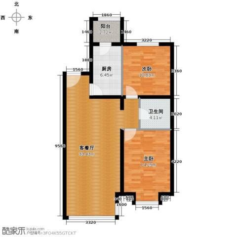 领秀新硅谷2室1厅1卫1厨95.00㎡户型图