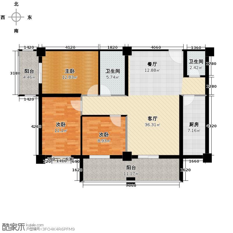 盛贸华府146.52㎡A户型3室1厅2卫1厨
