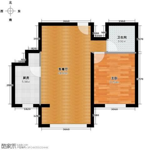 领秀新硅谷1室1厅1卫1厨66.00㎡户型图