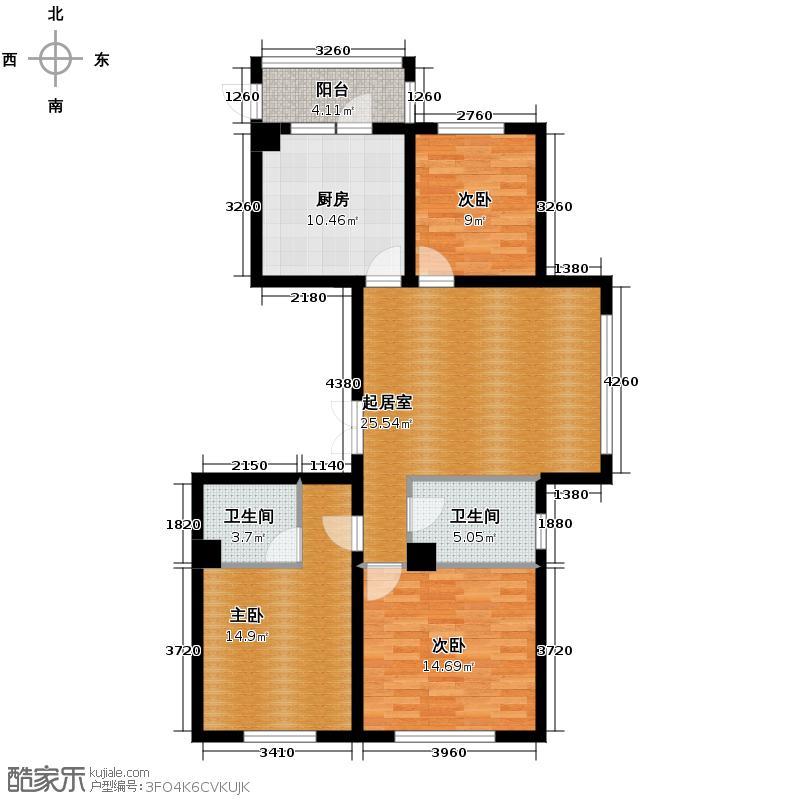 珠江帝景130.86㎡I户型3室2卫1厨