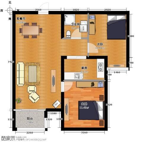汇君城2室2厅1卫0厨88.00㎡户型图