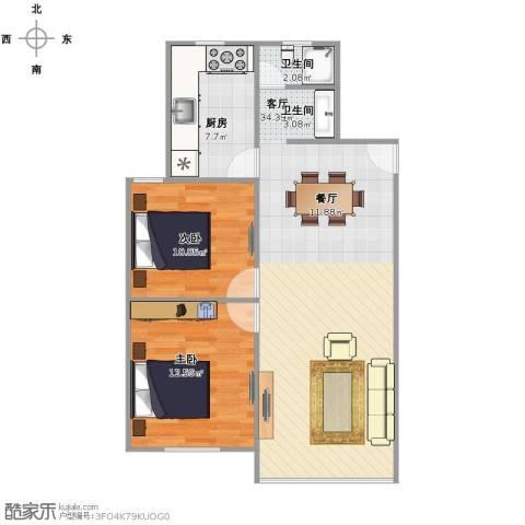 广联新苑2室1厅1卫1厨89.00㎡户型图