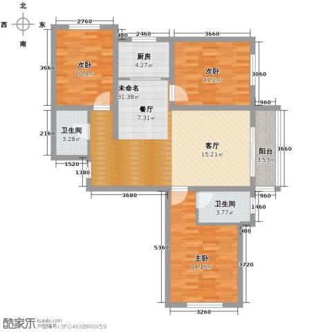 汇君城3室2厅2卫0厨118.00㎡户型图