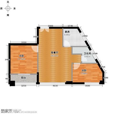 百步滨江2室1厅1卫1厨106.00㎡户型图