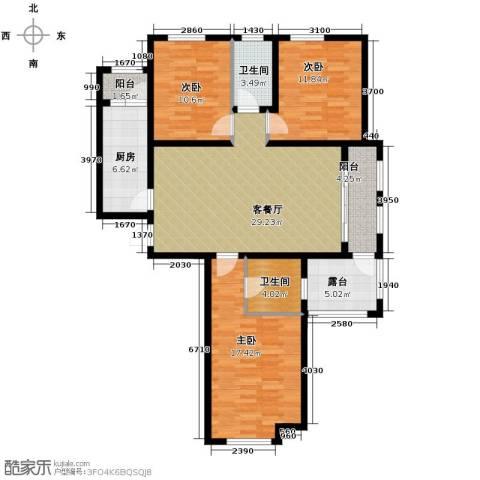 汇君城3室2厅2卫0厨130.00㎡户型图