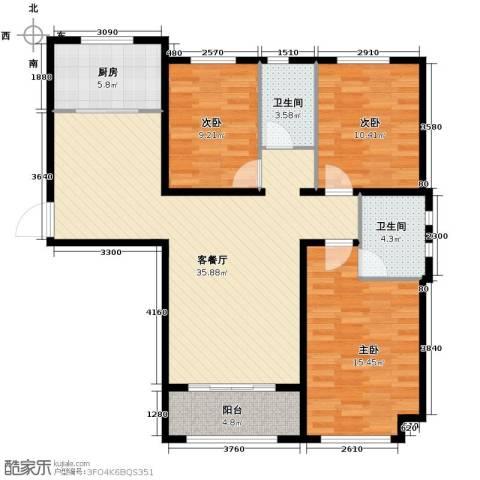 汇君城3室2厅2卫0厨125.00㎡户型图