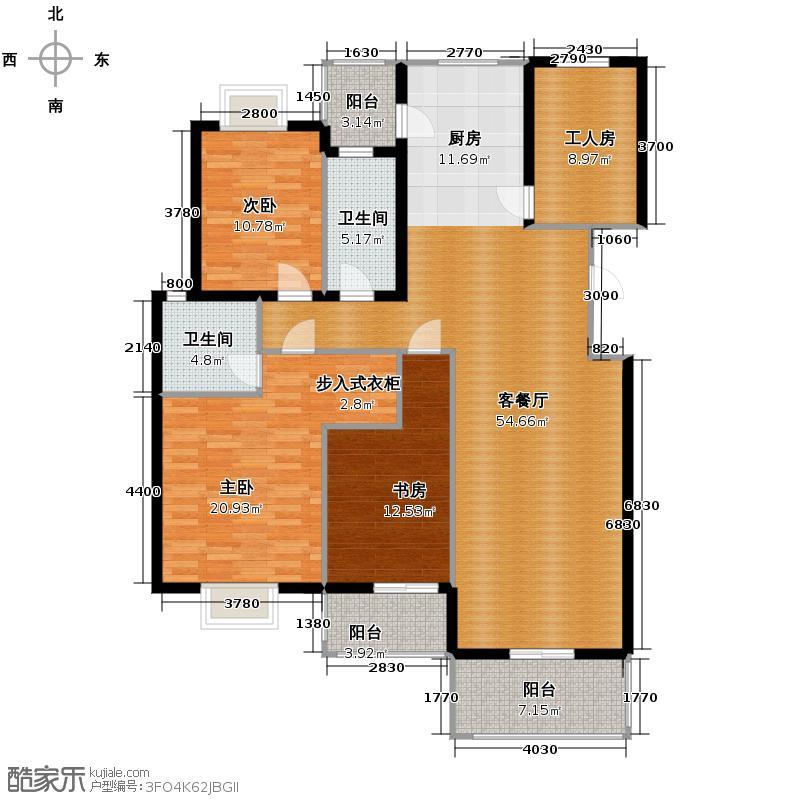 金海香滨湾159.00㎡户型3室1厅2卫