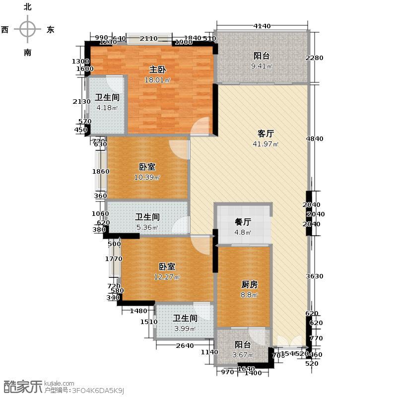 新幸福领汇家园142.01㎡4座01单元户型3室2厅3卫