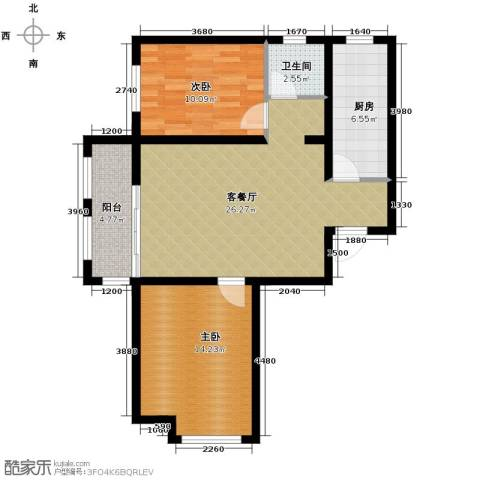 汇君城2室2厅1卫0厨92.00㎡户型图